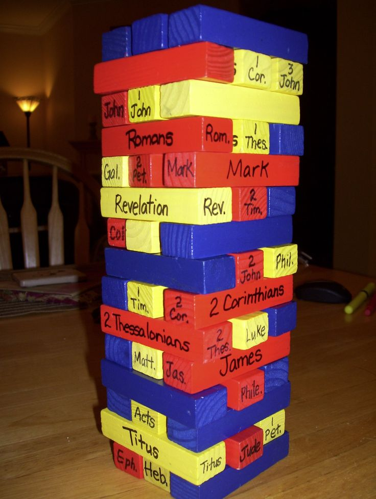 Bible Jenga. Write the bible book names on each block. Have kids take turns to pull a block, read the book name, then place it in the correct division bag. Game over when tower falls.