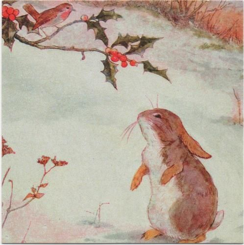 Anne Anderson Winter Friends Rabbit and Robin. Winter