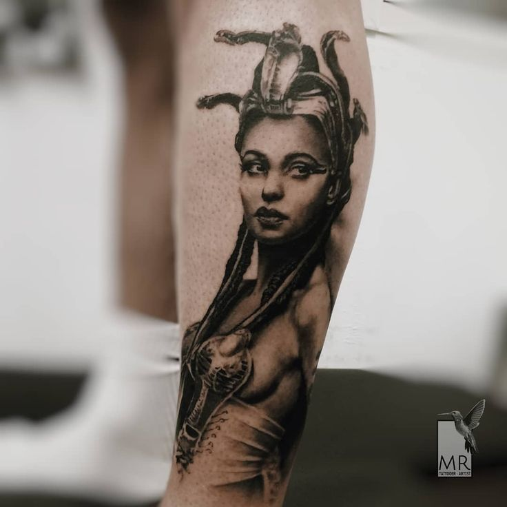 Cleopatra Portrait - Realistic Black and Gray tattoo. Special thanks: @alessiolalatattoo  Done with: @kwadron , @cheyenne_tattooequipment  Skin: @ermarchese85  #cleopatra #tattoo #cleopatratattoo #cleopatraportrait #tattoorealistic #realisticink #realistictattoo #bestrealistictattoo #bestblackandgreytattoos #blackandgraytattoo #bngink #egyptiantattoo #tatuaggiorealistico #tattooportrait #kwadroncartridges #cheyenne_tattooequipment #cheyennespirit #worldfamusink #tattoogreece…