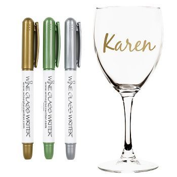 A fun way to keep track of your wine glass. Simply write your name on your glass (or get creative with a design) and wait 1-3 minutes for ink to dry. Stays on for the party, but washes off with ease!