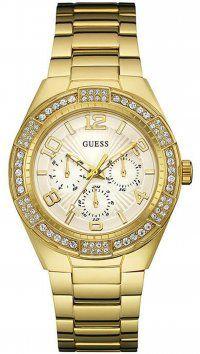 Guess Ρολόι Guess πολλαπλών ενδείξεων με χρυσό μπρασελέ W0729L2