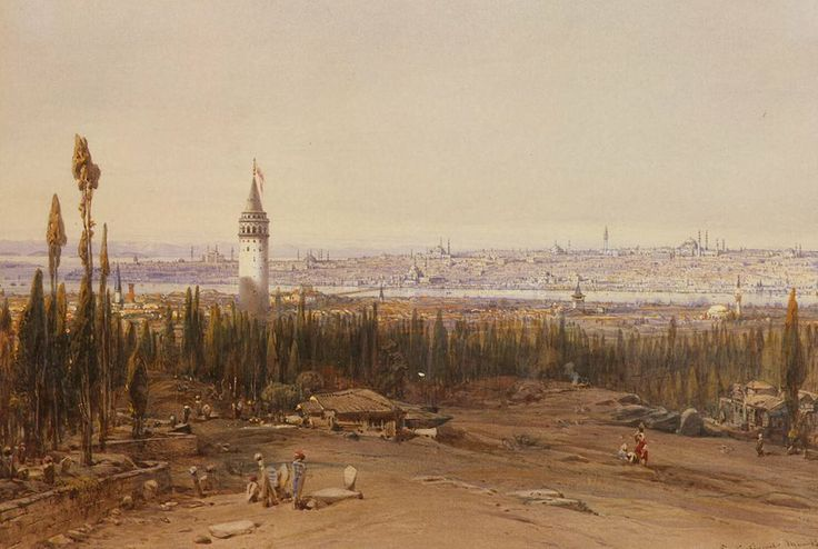 View of Constantinople (Istanbul) from the Cemetery - Eduard Hildebrandt, 1852