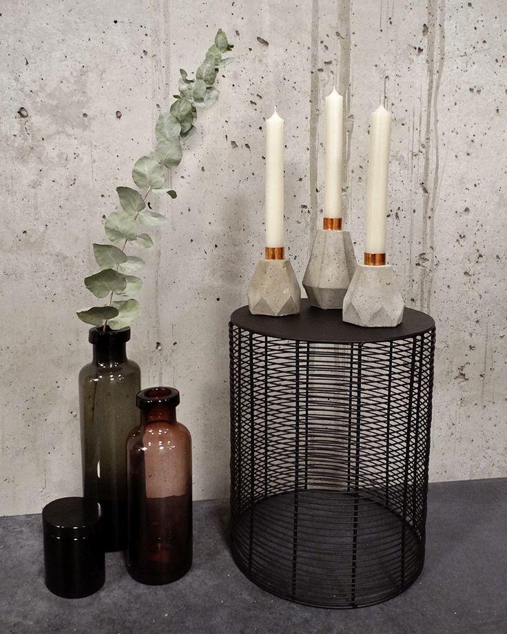 Diamant-Kerzenhalter-Trio aus Beton ♥