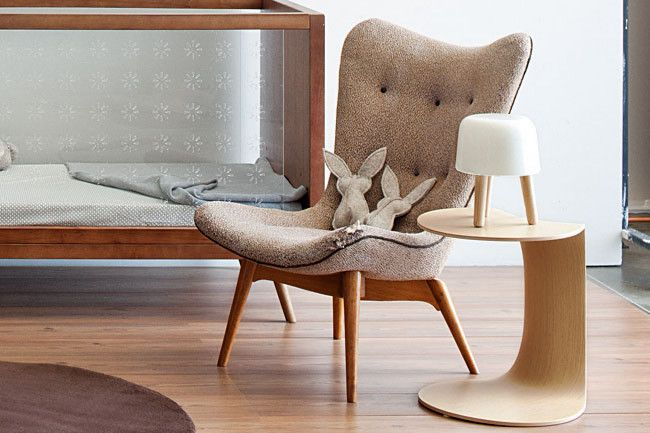 Featherston 'R152' chair, from Vampt Vintage Design.  - Rabbits, from Kif & Katast.  - Moroso 'Yo-Yo' table, from Hub Furniture.