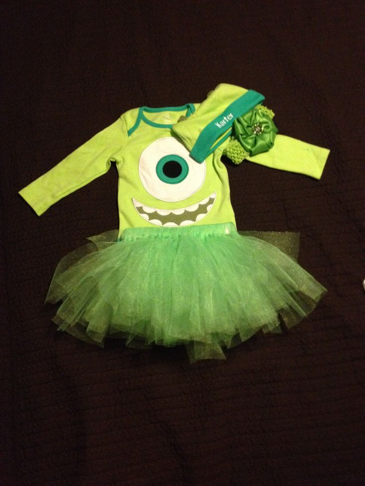 Turned a plain mike wazowski onesie into a super cute girls costume for Halloween! Added a DIY tutu for about $6 and head band with bow! Monsters university