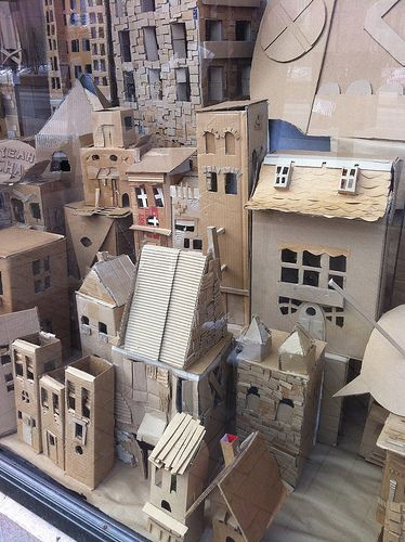 Cardboard town...art club.... for the display case... awesome.