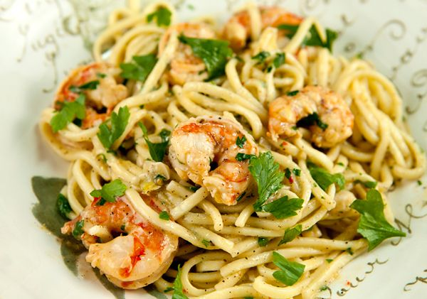 garlicky shrimp pasta from Italian Food Forever, Deborah Mele