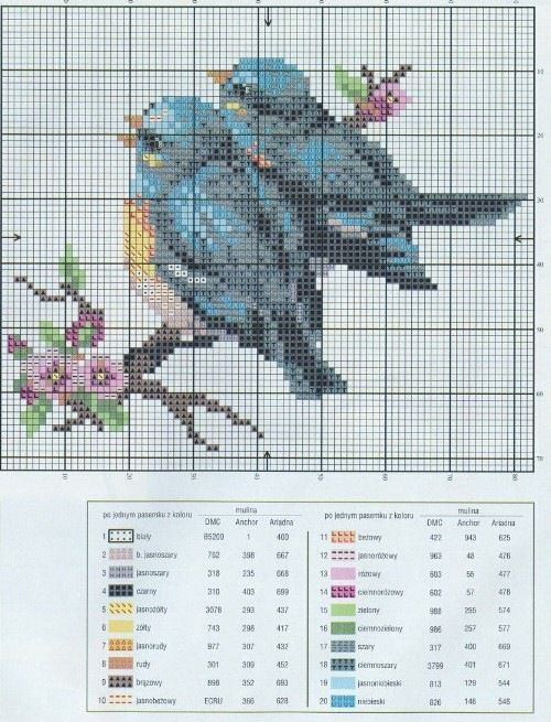 Free graph, website not in English.  lovely blue birds. Gallery.ru / Фото #4…