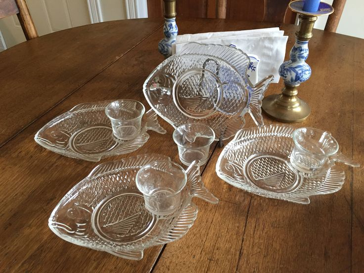 Vintage Clear Glass Shrimp Cocktail Fish Shaped Serving Dish with Dipping Cups Set of 4 by OctaviaAveMemories on Etsy