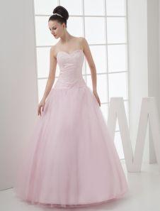 Vestidos de fiesta de Prom de color rosado con escote de corazón con bordado