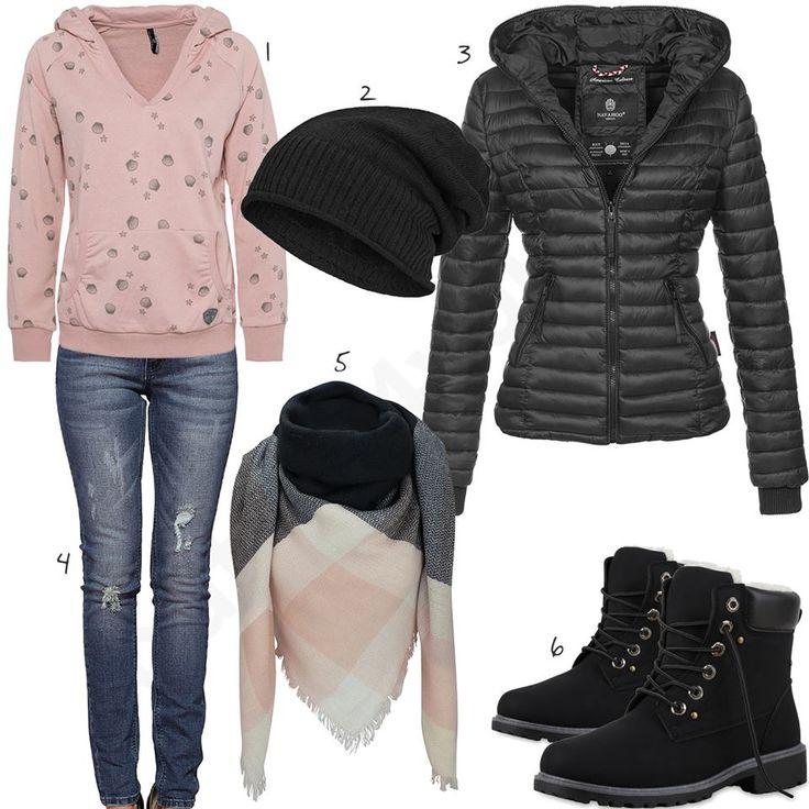 Lässiges Damen-Outfit mit XXL-Schal (w0670) #schwarz #rosa #jeans #stiefel #outfit #style #fashion #womensfashion #womensstyle #womenswear #clothing #styling #outfitfrauen #frauenmode #damenmode #handtasche #inspiration #outfitfrauen #frauenoutfit #damenoutfit #cloth