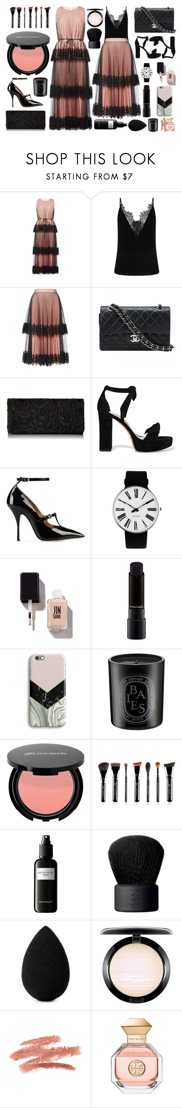 """Peach + Black"" by cherieaustin on Polyvore featuring Christopher Kane, Chanel, Alexandre Birman, RED Valentino, Rosendahl, MAC Cosmetics, Harper & Blake, Diptyque, David Mallett and NARS Cosmetics"