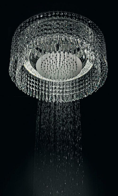 !!! Chandelier Shower by Bisazzo Bagno. me: It's beautiful! But with our hard water, I think I'd just like to stay in a hotel with one rather than worry about keeping it clean and sparkly!