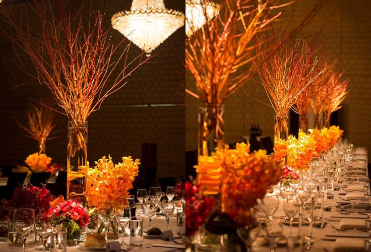 #Peach #Branch #Yellow #Orchids #Table #Centre #Events #PohoFlowers #Poho #Flowers