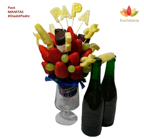 "Pack ""Manitas""   Ramo de frutas ""Manitas"" + Dos cervezas Alhambra Reserva 1925   #DiadelPadre"