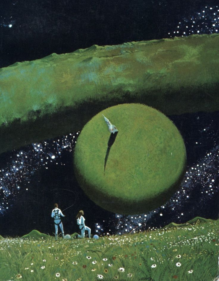 "Protector (1973). Cover illustration by Dean Ellis. The back cover shows the rest of the ring world, which actually is quite a magnificent sight. The ring concept—or ""Dyson sphere""—is a popular one of course, appearing in various sci-fi and fantasy stories; I've posted illustrations depicting this same structure before. I googled ""ring world"", and Google suggested ""Molly Ringwald""."