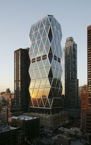 Hearst Tower, New York City (the original cement inside was torn down & a more modern bldg. was build in the same area). Home to COSMOPOLITAN Magazine, among others.