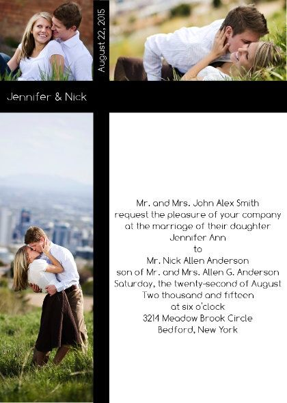Picture wedding invite with customizable colors
