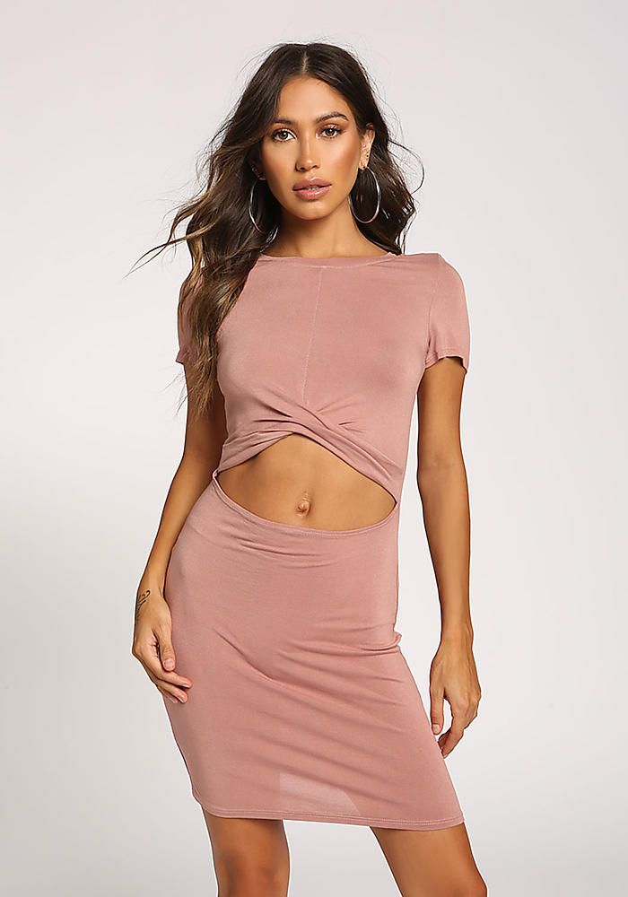 81ffbc614f7 Dusty Pink Cut Out Bodycon Dress in 2018