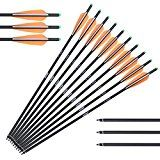 ANTSIR 22-Inch Fletched Archery Carbon Crossbow Arrows with Field Points (10 Pack)
