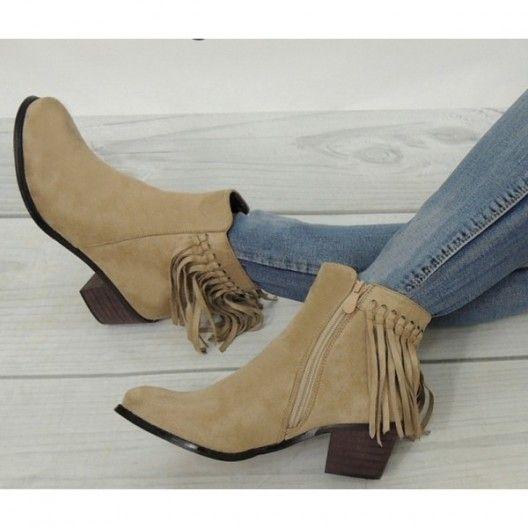 Dámska bežová členková obuv so strapcami na päte - fashionday.eu