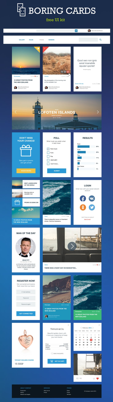 Boring Cards -  Free UI Kit PSD