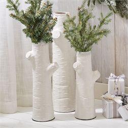 S/3 White Tree Trunk Vases