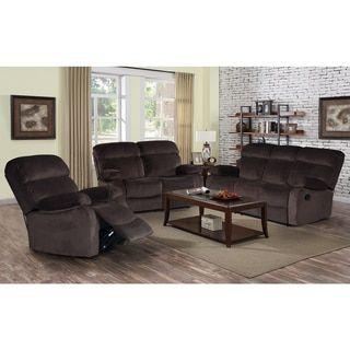 3-piece Jessica Dark Chocolate Velvet Recliner Sofa Set - Free Shipping Today - Overstock.com - 19616730 - Mobile