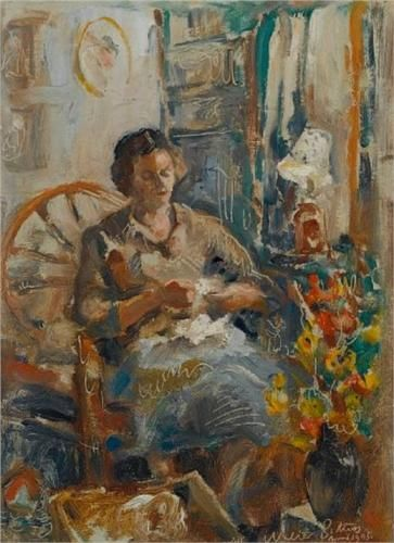 Walter Battiss (1906 - 1982) | Impressionism | Portrait of the artist's wife, the artist Grace Anderson - 1945