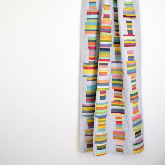 Modern Quilt, Multicolored Bedding, Geometric Lap Quilt, Geometric, Modern Lap Quilt, Grey Quilt