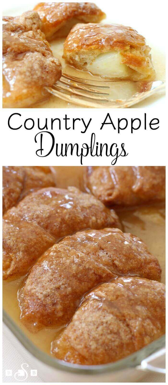 These Country Apple Dumplings are the perfect quick and easy fall dessert that get baked in a sweet sauce that your friends and family will really enjoy! via @bestblogrecipes
