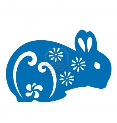 Rabbit silhouette illustrated with paper cut style. I love the bold graphic look of this blue bunny combined with the sweet floral accents.