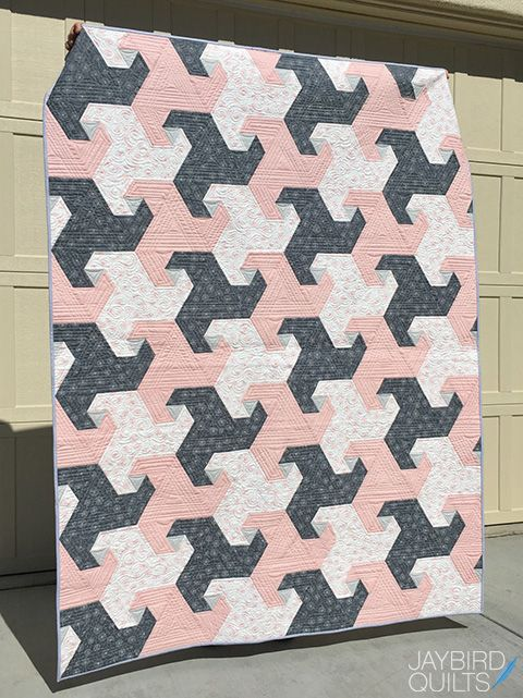 Jaybird Quilts Trail Mix Quilt. Made with Whisper by Dear Stella and the Super Sidekick Ruler. Available now in local & online quilt shops. #JaybirdQuilts  #TrailMixQuilt #SuperSidekickRuler