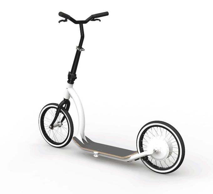 The Smart Ped is a smart, foldable and electric kick scooter. If you look closely, there is a white hub integrated into the rear wheel— this is where the magic happens. The motor, batteries and forward thinking sensors are all neatly integrated into the rear wheel. That means no extra