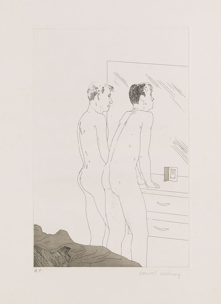 DAVID HOCKNEY 2 Blätter: Projects for the Cavafy Suite, 1966. Etching   +