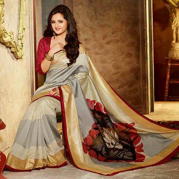 Multicolor printed #Bhagalpuri #Silk #saree with blouse. - #Love it. #valentine #Gorgeous - http://bit.ly/1PW5UyN