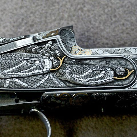 Blaser F3 Rattlesnake Side Plate Shotgun Engraved by Rolf Kaufmann *** In final stage of completion in Germany. This shotgun will arrive at our shop with a Grade 11 Turkish Walnut Stock @blaser_usa @blaser_custom #guncollector #gunengraving #skeet #safari #hunting #engraving @professional_sporting_clays