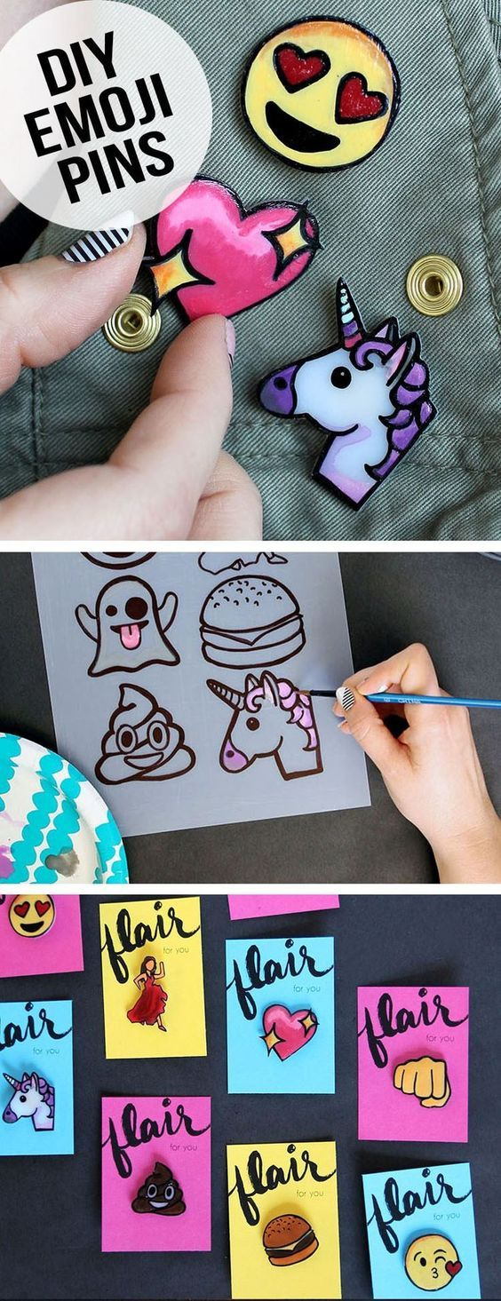 Make your own emoji lapel pins from shrink plastic. So fun to make, wear, and…