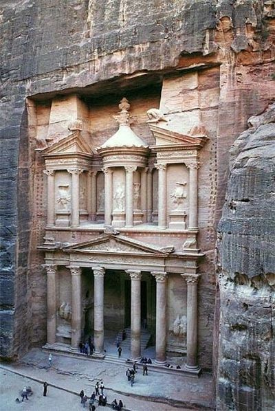 Petra: Is a historical and archaeological city in the southern Jordanian governorate of Ma'an that is famous for its rock-cut architecture and water conduit system. Another name for Petra is the Rose City due to the color of the stone out of which it is carved.