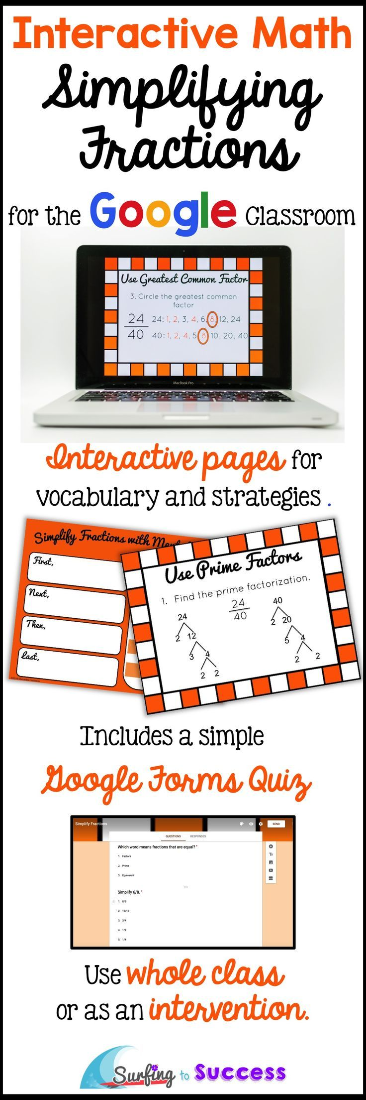 Digital Interactive Lesson and Practice for Simplifying Fractions | Step by Step | Digital Interactive Notebook Pages | Whole Class or Intervention | Google Forms Quiz Provided