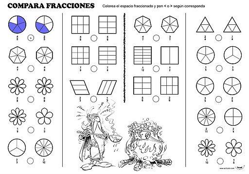 Esta Es Una Ficha Para Trabajar La Comparacion De Fracciones Si No Puedes Implimirla Haz Los Dibuj Comparacion De Fracciones Fracciones Comparando Fracciones