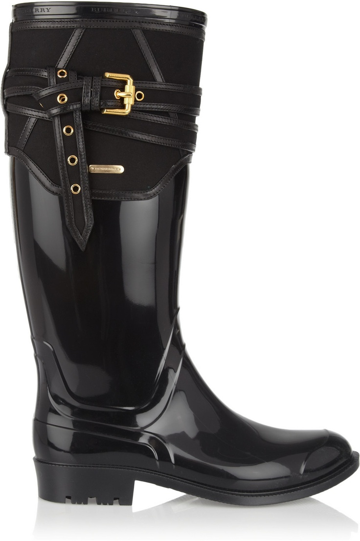 Flyest Rain Boots i've ever seen  Burberry Shoes & Accessories | Rubber and twill Wellington boots | NET-A-PORTER.COM