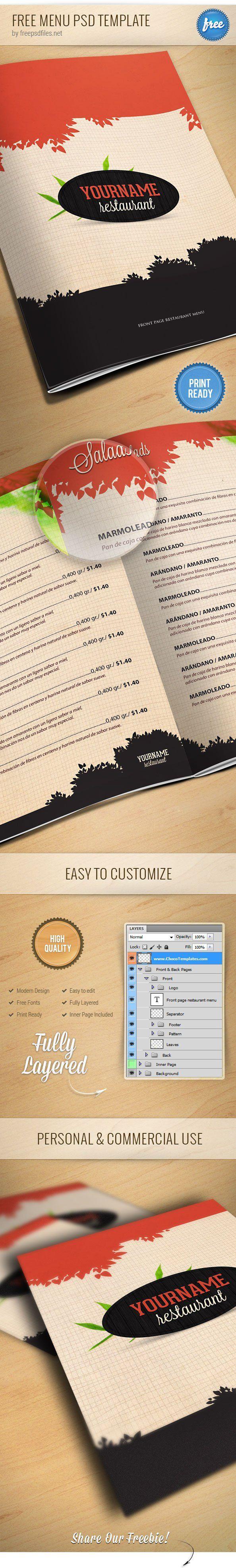 menu do restaurante psd template preview