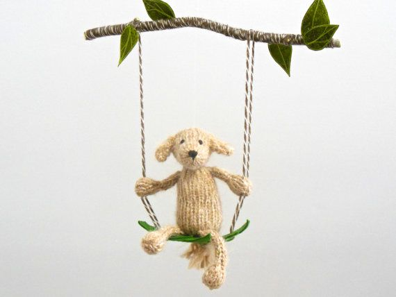 Baby Mobile Golden Retriever Mobile Puppy by SweetBauerKnits