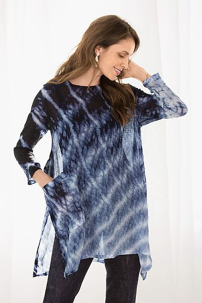 Using Japanese shibori hand-dyeing techniques, Kane creates a stunning tunic with incredible depth of color. Silk Bubble Gauze Swallowtail Top by Michael Kane: Shibori Tunic available at www.artfulhome.com
