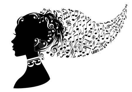 nő fej zenei jegyzetek a hajában, vektoros háttér