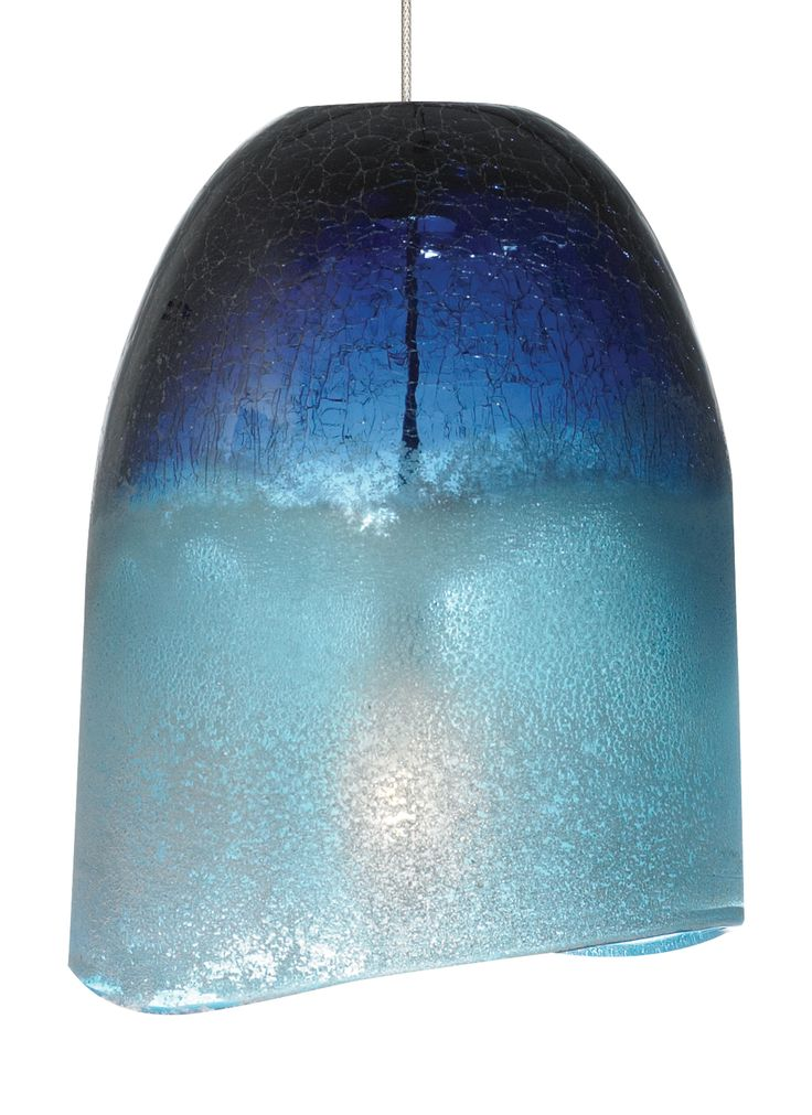 The chill pendant light by lbl lighting available in amber blue shown