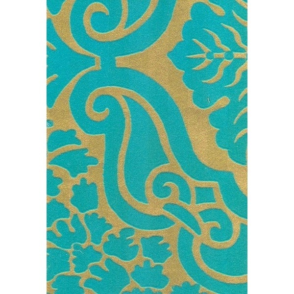 Fioravanti Flock Wallpaper Turquoise Damask Style Flock Wallpaper On Gold
