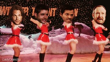 "Supernatural holiday revue #SPN #Christmas | (originally ""Jingle Bell Rock"" scene from Mean Girls)"