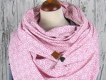 XXL Dreieckstuch * Jersey rosa / weißes Muster  *